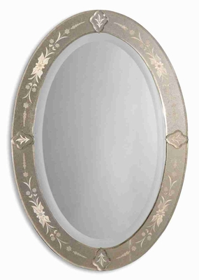Donna Antique Frameless Wall Mirror with Etched and Beveled Mirror Edge Brand Uttermost