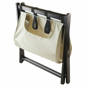Dora Luggage Rack With Removable Fabric Basket by Winsome Woods