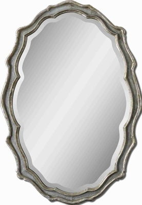 Dorgali Curvaceous Mirror with Slate Blue Accented with Silver Leaf Brand Uttermost