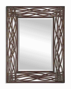 Dorigrass Wood Mirror with Hand Forged Mocha Brown Highlights Brand Uttermost
