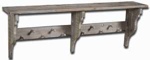 Doroteo Distressed Hanging Rack Shelf With Weathered Gray Stain Brand Uttermost