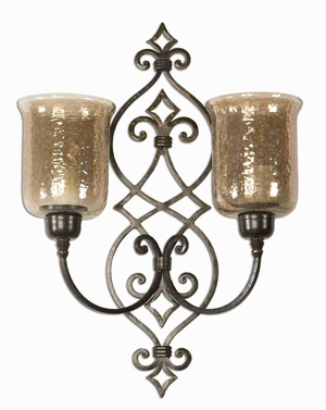 Double Wall Sconce Candle Holder With Hand Forged Bronze Finish Brand Uttermost