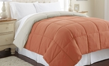 Down Alternative Queen Size Orange Rust and Oatmeal Reversible comforter