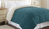 Down Alternative Queen Size Reversible Comforter Blue Coral/Oatmeal�
