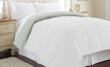Down Alternative Queen Size Reversible Comforter in White/Gray Colors