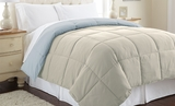 Down alternative Queen Size Reversible Comforter Oatmeal/Dusty Blue