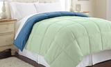 Down Alternative Reversible Comforter in Misty Jade/Seaport Color Queen