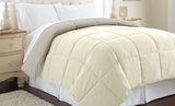 Down Alternative Reversible Queen Size Comforter Ivory/Atmosphere