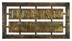Dream Metal Wall Decor Sculpture with Embossed Word Art Brand Woodland