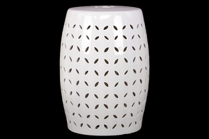 Drum Shaped Ceramic Garden Stool w/ Intricate Design White