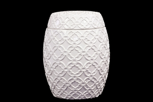 Drum Shaped Ceramic Jar w/ Beautiful Motif in White