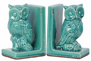 Dumas El Fna Attractive Stoneware Owl Bookend by Urban Trends Collection