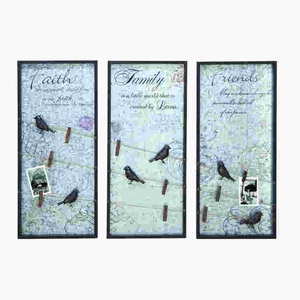 Durable and Long Lasting Wood WallPhoto Note Holder Assorted (Set of 3) Brand Woodland
