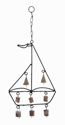 Durable and Rustproof Metal Boat Wind Chime with Sail Boat Design Brand Woodland