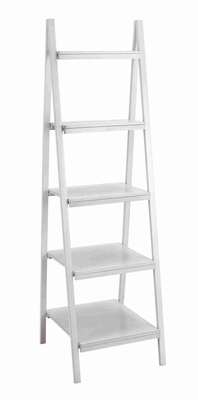"""Durable and Spacious 65"""" Classy Wooden Leaning Shelf in White Brand Woodland"""
