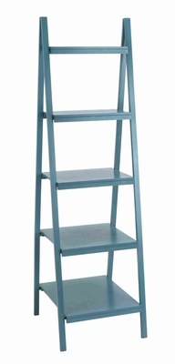 """Durable and Spacious 65""""H Solid Wooden Leaning Shelf in Blue Brand Woodland"""