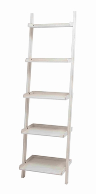 "Durable and Spacious 69"" Trendy Wooden Leaning Shelf in White Brand Woodland"