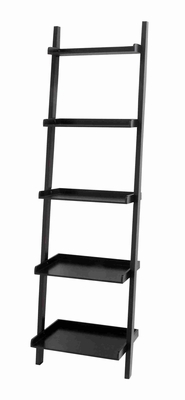 """Durable and Spacious 69"""" Wooden Leaning Shelf in Elegant Black Brand Woodland"""