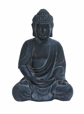 Durable Fiber Clay Buddha Glaced with Antique Black Finish Brand Woodland