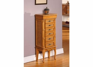 Durable Mandalay Bay 6 Drawer Jewelry Armoire in Light Brown Brand Nathan