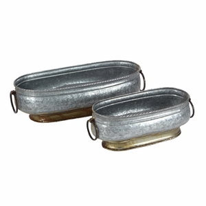 Durable Metal Oval Planter, Set Of 2 - 49195 by Benzara