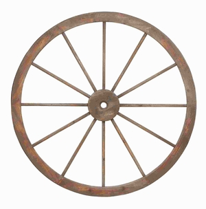 Metal Wagon Wheel With Intricate Detailed Work - 52290 by Benzara