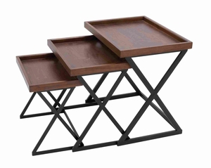 Durable Plywood Wood and Metal Crafted Accent Table Set of 3 Brand Woodland