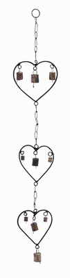 Durable Rustproof Metal Heart Wind Chime with A Design of Hearts Brand Woodland