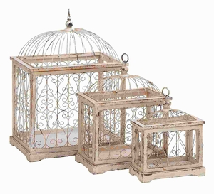 Durable Wood Metal Bird Cage with Celestial Designs (Set of 3) Brand Woodland