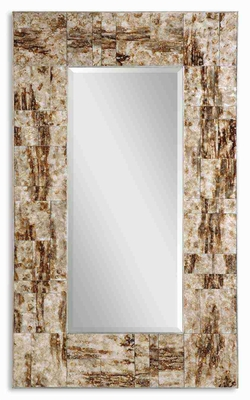 Durante Glass Wall Mirror with Marblized Maple Brown Edge Brand Uttermost