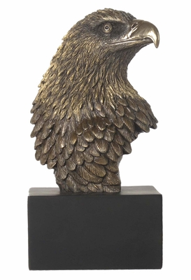 Eagle Head Statue on Plinth with Cold Cast Bronze Construction Brand Unicorn Studio