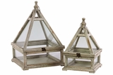 Easily Manageable Wooden Lantern/Greenhouse Set of Two