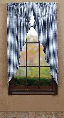 "Eastpointe Prairie Curtain Check Lined Set of 2 63x36x18"" Brand VHC"
