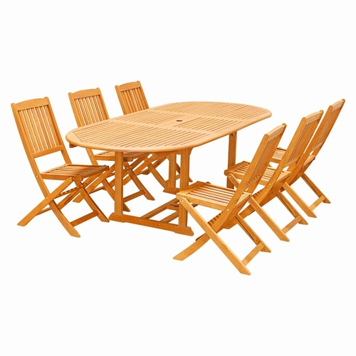 Buy Eco Friendly 7 Piece Wood Outdoor Dining Set with  : eco friendly 7 piece wood outdoor dining set with foldable chairs v144set29 by vifah 6 from www.wildorchidquilts.net size 500 x 500 jpeg 101kB