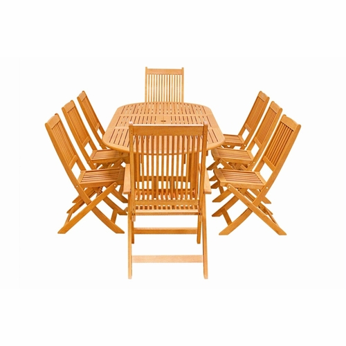 Buy Eco Friendly 9 Piece Wood Outdoor Dining Set V144SET26  : eco friendly 9 piece wood outdoor dining set v144set26 by vifah 7 from www.wildorchidquilts.net size 500 x 500 jpeg 86kB