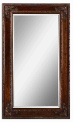 Edeva Wood Wall Mirror with Gold Leaf and Green Undertones Brand Uttermost