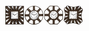 Set of Four Metal Wall Clocks in Bronze Finish - 51023 by Benzara