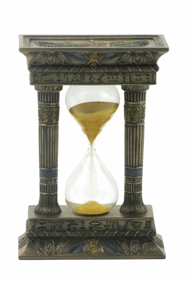 Egyptian Gateway Sand Timer with Gold Sand in Cold Cast Bronze Brand Unicorn Studio