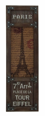 Eiffel Tower Themed Wooden Framed Wall Decor - 54444 by Benzara