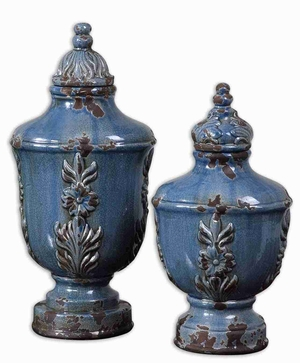 Eilam Style Containers In Crackled Pale Blue Finish Brand Uttermost