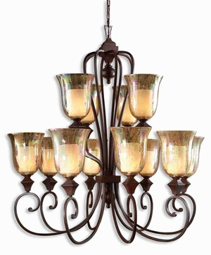 Elba 12 Light Chandelier With Crackled Glass and Curved Arms Brand Uttermost