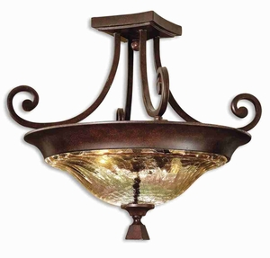 Elba 2 Light Semi Flush Mount With Curved and Square Accents Brand Uttermost