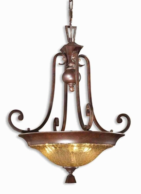 Elba 3 Light Pendant Lamp With Crackled Glass and Square Shapes Brand Uttermost