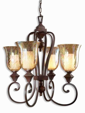 Elba 4 Light Chandelier With Crackled Glass and Curved Arms Brand Uttermost