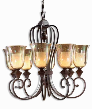 Elba 8 Light Chandelier With Crackled Glass and Curved Arms Brand Uttermost
