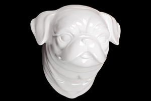 Elderly & Ceramic White Dog Head by Urban Trends Collection