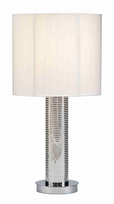 "Elegant 24"" Table Lamp with White Shade in Silver Metal Finish Brand Woodland"