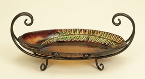 Elegant Abstract Fern Leaf Glass Bowl Tray with Metal Stand Brand Woodland