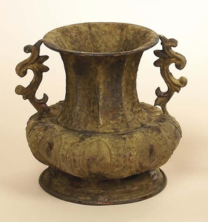 Elegant and Antiqued Design Metallic Vase with Two Handles Brand Woodland