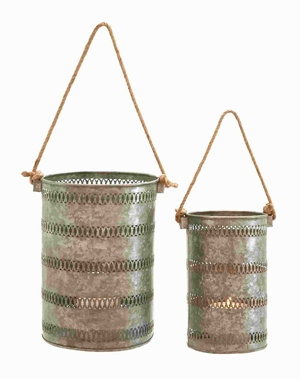Elegant and Attractive Metal Galvanized Lantern (Set of 2) Brand Woodland